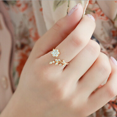 2017 Fashion Twisted Midi Finger Rings rhinestone Leaves Wishful Opening Ring Flower Women Accessories Ring