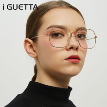 iGUETTA Fashion Sunglasses Women Square Literary Metal Glasses Frame Designer Sunglass High Quality IYJB575