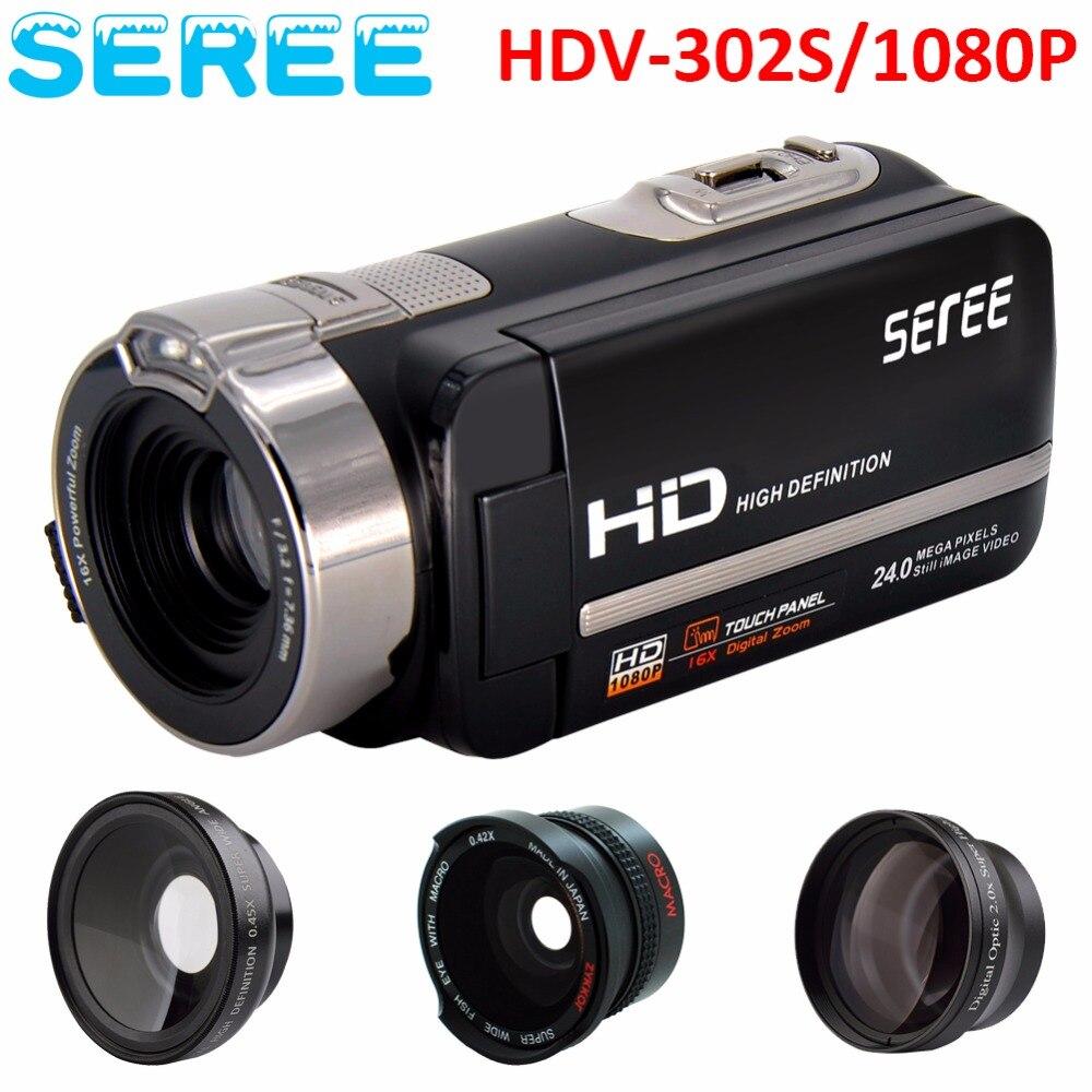 Seree 2017 New Digital Camera Full HD 1080P 16x Zoom Recorder Camcorder Mini 3'' Touch DV DVR 24MP Video Camera dv613a full hd 1080p digital video recorder camcorder 16x zoom digital dv camera kit black video camera up 16mp