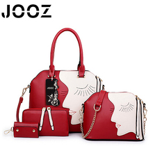 JOOZ Brand Luxury Girl Face Patchwork Lady Handbag 4 Pcs Composite Bags Set Women Shoulder Crossbody Bags Purse Clutches Wallet