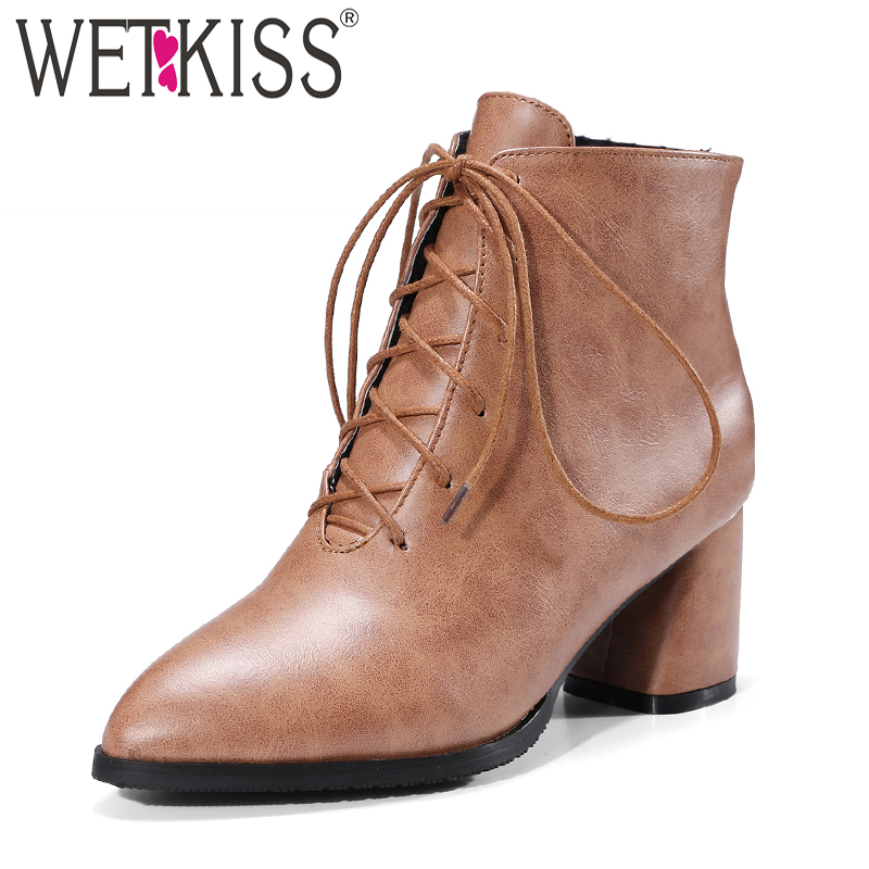 WETKISS Winter High Heels Women Boots Square Heels Boot Autumn Rubber Lace Up Lady Shoes Pointed Toe Pu Footwear Big Size 33-47