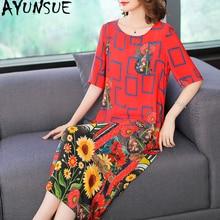AYUNSUE,, Летнее шелковое платье для женщин, модное, с принтом, красное, Цветочное платье, повседневные платья, пляжная одежда, Vestidos De Festa KJ1848