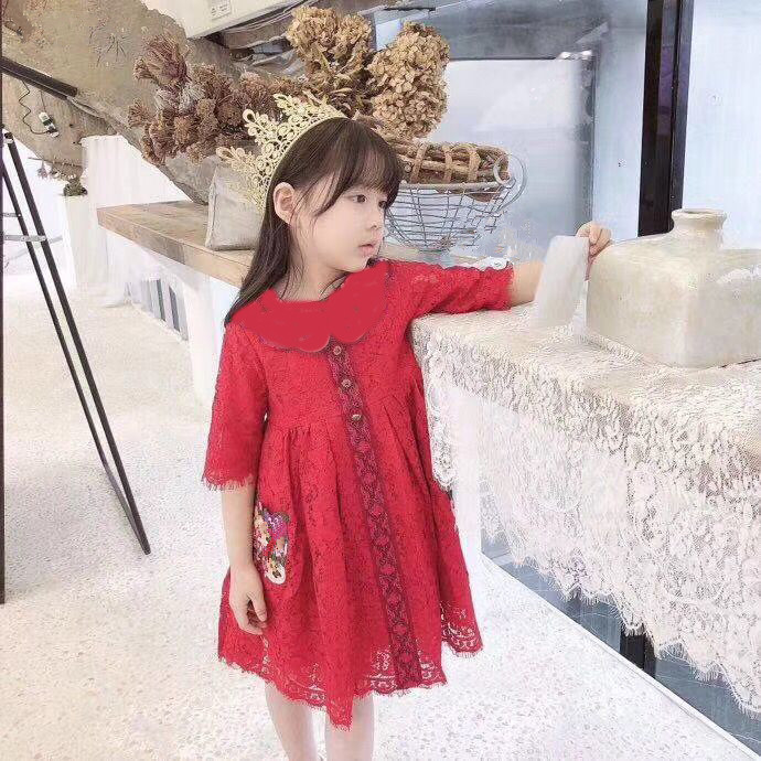 in stock High quality 2019 new Baby Girls Solid Dress For Wedding Party Dresses Kids Girls