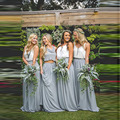 Длинная женская юбка-макси Dusty Blue  винтажная шифоновая юбка с высокой талией в пол  на молнии  для свадебной вечеринки