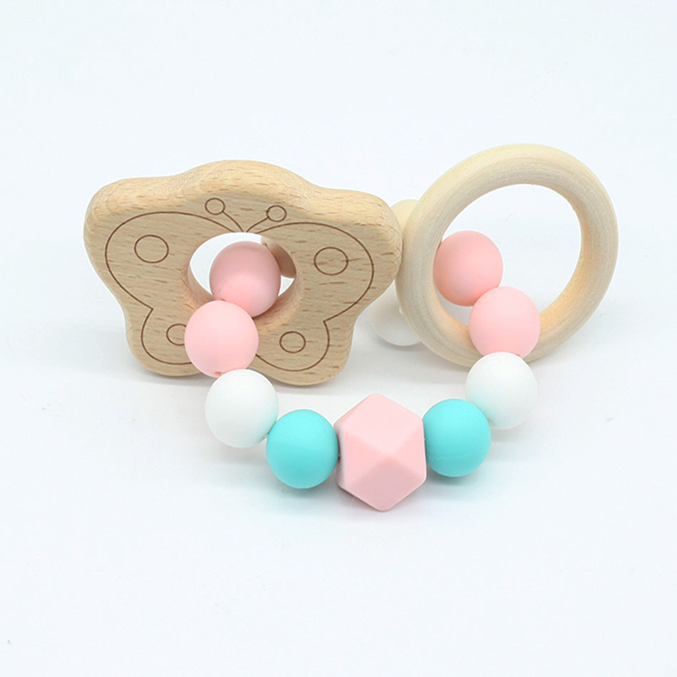 Baby Pacifier Clip Teether Silicone Bracelet Organic Wood Teether Non-toxic Food Grade Can Chew Toy Teething Jewelry Natural Toy
