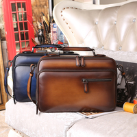 New Wholesale Tobacco polished Venezia leather calfskin leather briefcase Casual Handbags Men's Travel Bags Laptop pouch Bag