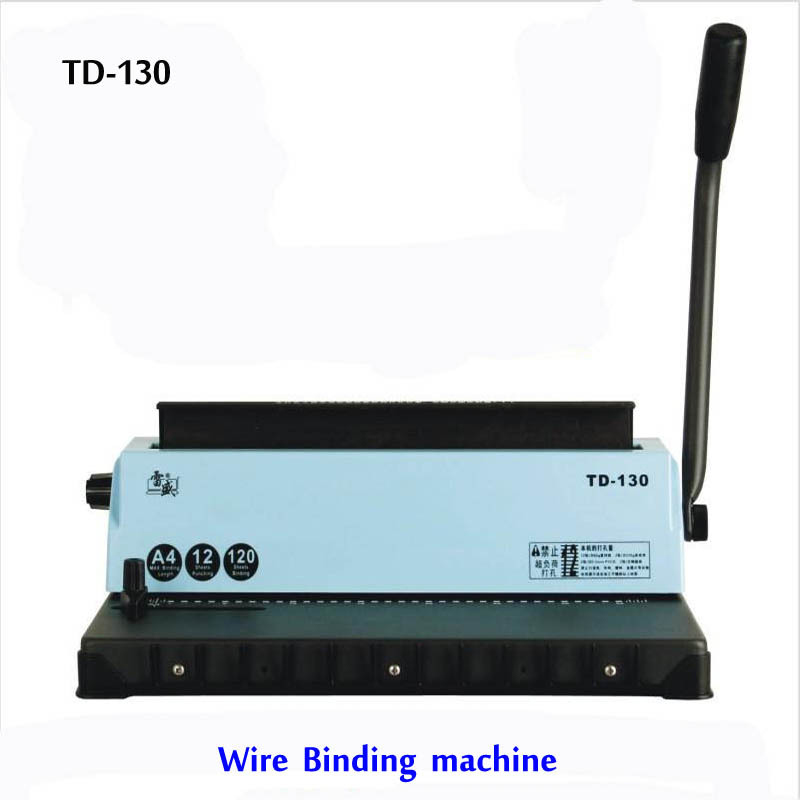 1 PCS TD-130 Manual A4 Wire Binding Machine Printing Paper Book Binder a4 size manual flat paper press machine for photo books invoices checks booklets nipping machine