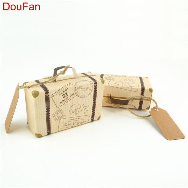 DouFan 10 UNIDS Mini Old Fashion Suitecase Caja de Regalo de La - Para fiestas y celebraciones