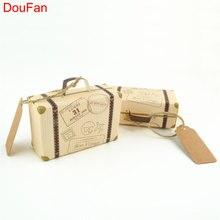DouFan 10PCS Μίνι παλιά Μόδα Suitecase Γάμος Ντους μωρό γενεθλίων Κόμμα δώρου Κουτί Kraft Paper Cage Party Διακόσμηση Προμήθειες
