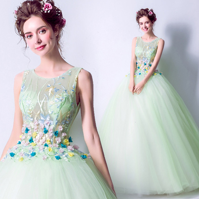 Long Evening Dresses  Flowers Light Green bride Abendkleider Formal wedding Party dress vestido de festa Ball Gown