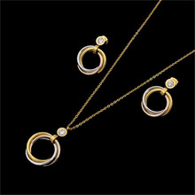 NJ 2017 Classic Carter Tricyclic Stainless Steel Jewelry Sets Elegant Pendants Inlaid Zircon Women Wedding Necklace Earrings