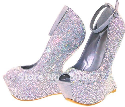 Unique Exclusive Ankle Wrap Wedge Ladies Sexy Party Wedding Shoes High Heels Pumps