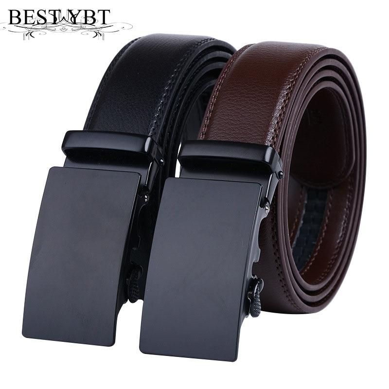 Best YBT Men's Belt Automatic Ratchet Buckle With Cowboy Business Affairs Belts For Men Luxury Brand 110-125cm Length