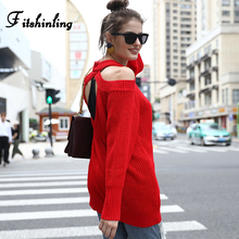Fitshinling Open Shoulder Backless Women Sweaters And Pullovers Long Sleeve Slim Jumper Pull Femme Solid Knitted Ladies Sweater strappy open shoulder jumper