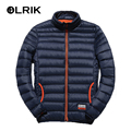OLRIK 2016 Brand New Men Winter 90% White Duck Down Jacket Coats Light Thin Casual Coats Parkas Dress Jackets M-3XL