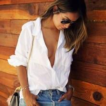 e6b25cc6063 Женские рубашки блузки женские классические простые рубашки с длинным  рукавом Женские повседневные стильные белые рубашки высоко.