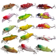 CATCHSIF 16pcs Lifelike Locust and Cricket Tiny Minnow lures topwater Hard fishing baits