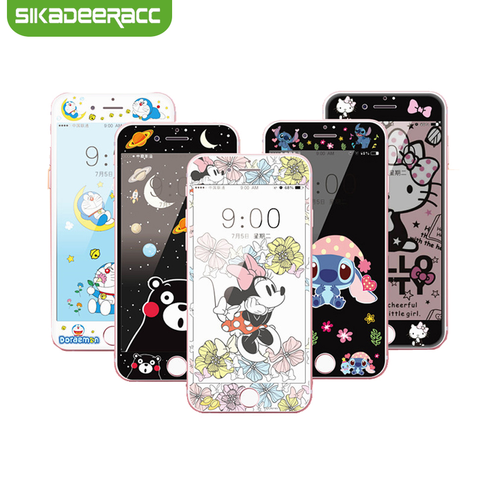 3D Carbon Fiber Cartoon Tempered Glass Film For iPhone 6 6s 7 8 Plus Kitty Doraemon Mouse Kumamon Protective Screen Protector
