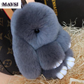 13 style 13-15 cm Fur Rabbit Key Chain Cute Animal Fluffy Bunny Keychain With Black Stone Eye Women Bag Charms Gift Llaveros eb