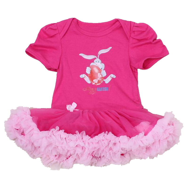 Hot Pink Happy Easter Hare Egg Baby Costumes Lace Petti Rompers Tutu Dress Bebe Jumpsuit Easter Outfit Newborn Girls Clothes