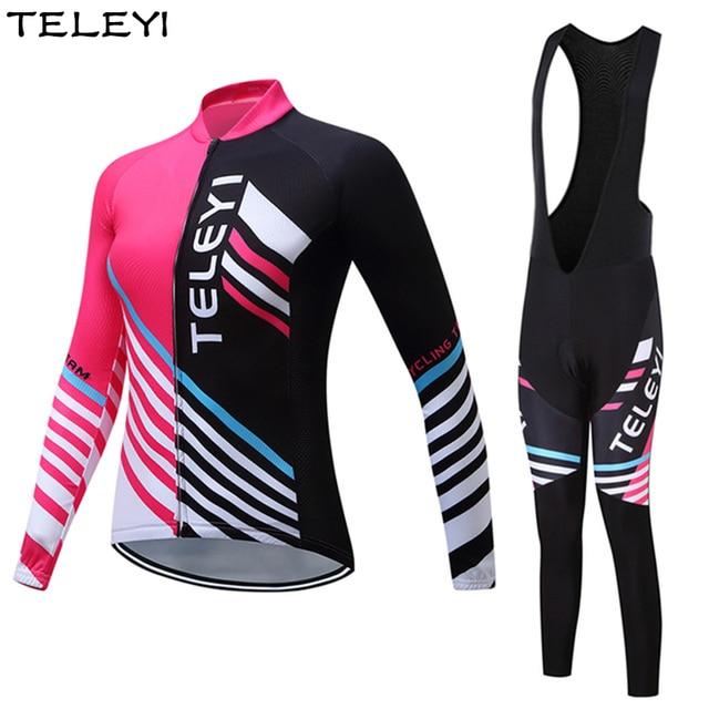 TELEYI Pro Team Women Cycling Jersey Suit Long Sleeve Ropa Ciclismo Bicycle Girls Jersey Set Bike Jacket Bib Pants Gel Padded
