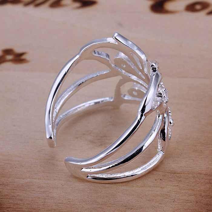 925 jewelry แหวนเงินแฟชั่น Zircon ผีเสื้อเปิดแหวนผู้หญิงเครื่องประดับเงินเครื่องประดับเงินแหวน SMTR035
