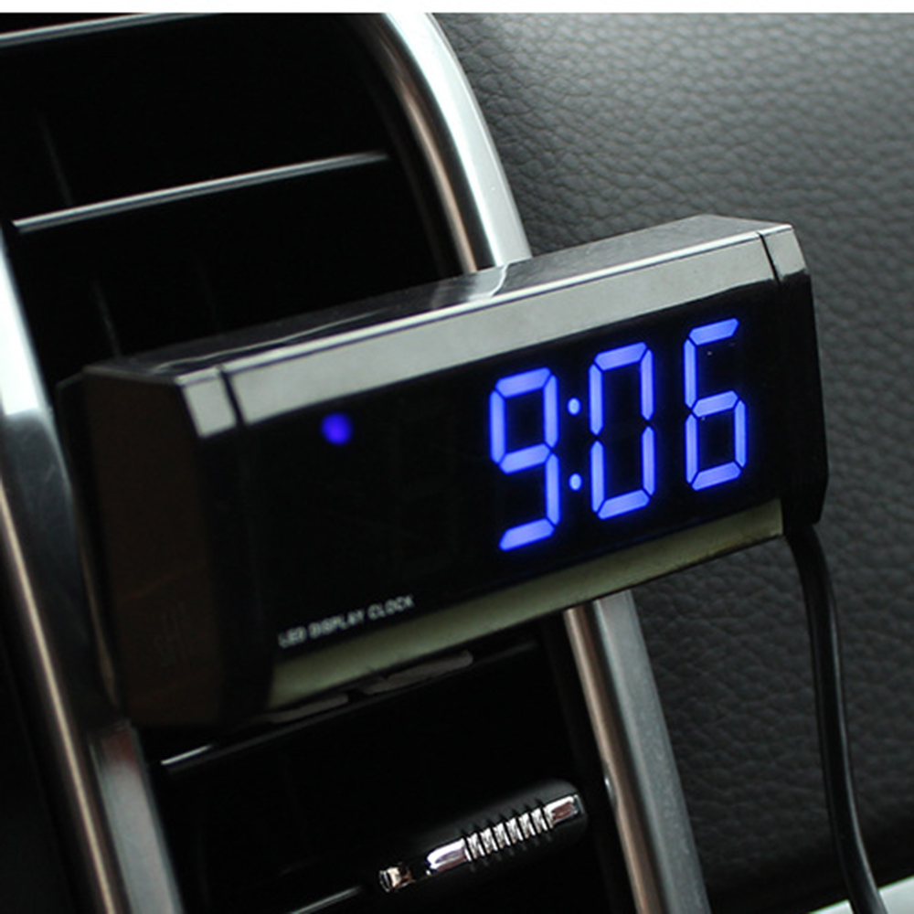 Car Clock Decoration Luminous Electronic Display Screen Meter Clock Time Auto Interior Ornament Fluorescent Watch Accessories