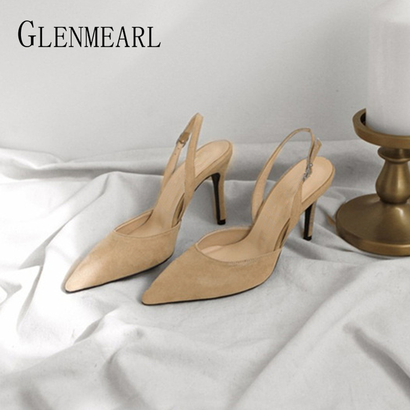 Women Pumps Sexy Summer Shoes High Heels Brand Woman Party Shoes Slingback Pointed Toe Buckle Strap Female Dress Shoes Plus Size