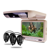 9 Flip Down Car DVD Player Roof Mounted Monitor Support 32 Bits Game Ceiling Radio Stereo Swivel Function USB SD Overhead Video