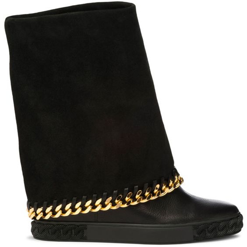 где купить  Hot Boots Gold Chain Toe 90mm Perforated Suede Wedge Women Boots Round Toe Embellished Sole Slip On Fall Winter Boot Shoes Woman  по лучшей цене