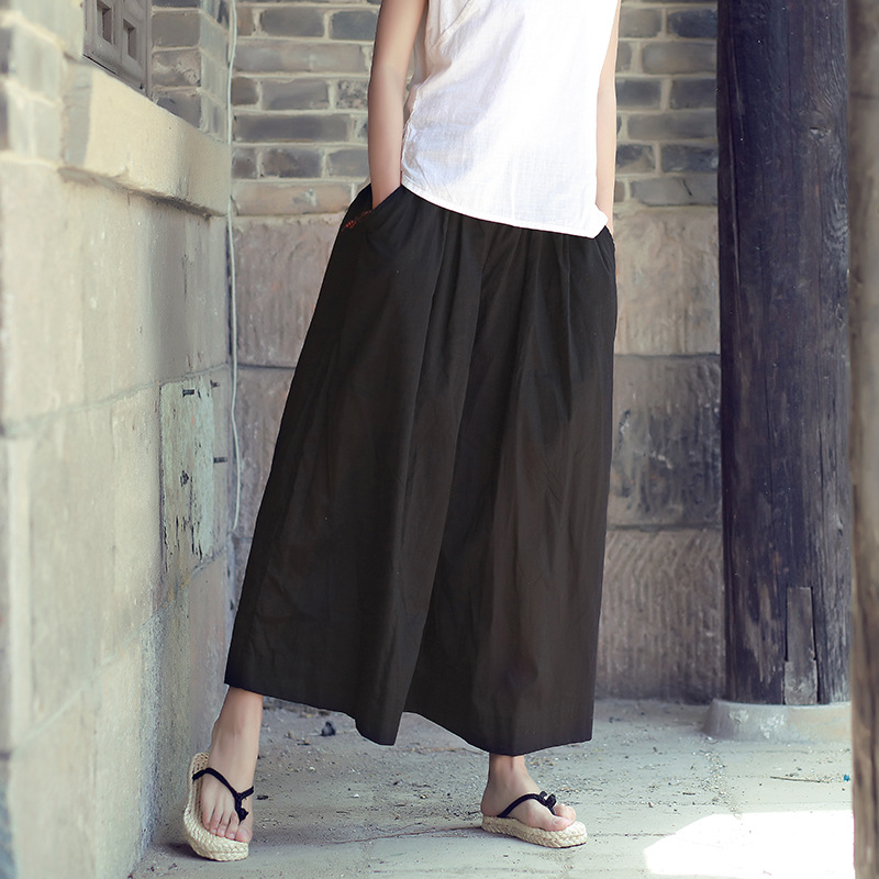spring summer baggy   pants   women   wide     leg     pants   white black pantaloni donna estate 2018 culottes Trousers good quality spodnie