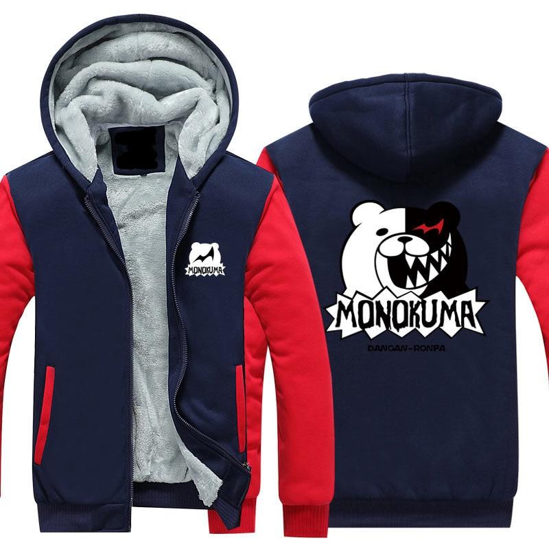 New Fashion Cartoon Sweatshirts Japanese Anime Danganronpa Winter Warm Hoodies Men Monokuma Zipper Jacket Coat USA size