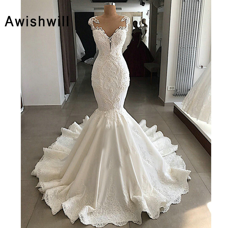 Sexy Mermaid Wedding Dress 2020 Sheer Nude Back Beading Lace Satin V-neck Robe De Mariee Ivory White Real Wedding Gown