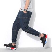 Мода Негабаритных Гарем джинсы мужчины Большой размер брюки 3xl 4xl 5xl Темно-синий Весна Осень Зима