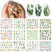 12 Designs Summer Nail Water Transfer Stickers Cactus Flamingo Heart Leaf Tattoo Decals Nail Art Decoration Slider TRBN1213 1296