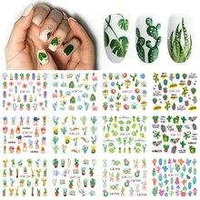 12 wzorów letnie naklejki transferu wody paznokci kaktus Flamingo serce liść naklejki tatuaże nakładane dekoracje do zdobienia paznokci TRBN1213 1296