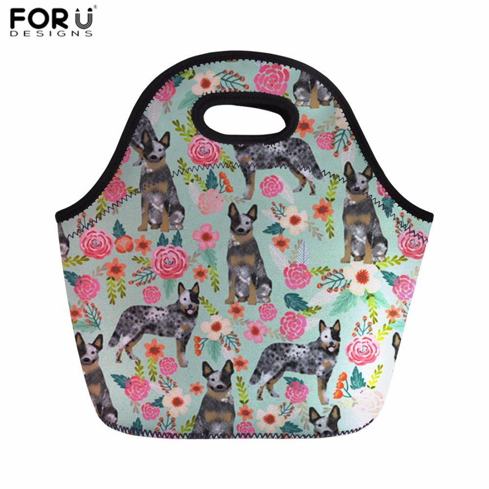 FORUDESIGNS Lunch Bag for Women Australian Cattle Dog Florals Cream Print Thermal Food Bag Kids Picnic Bag Thermo Case Meals Bag