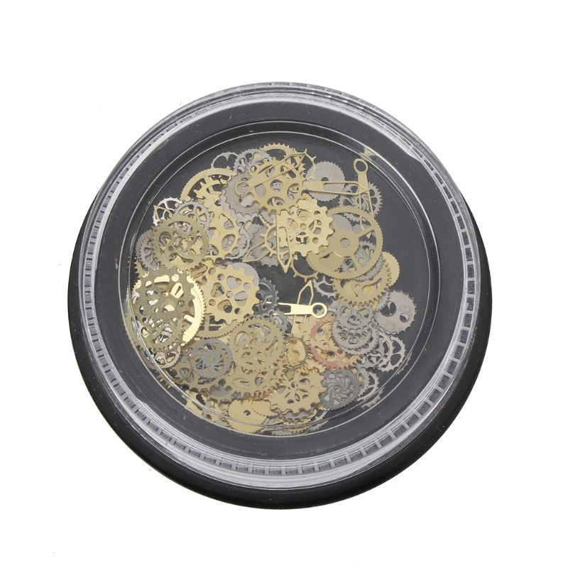 120Pcs Mixed Steampunk Cogs Gear Clock Charm UV Frame Resin Jewelry Fillings DIY