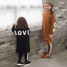 children's clothing Sweatshirt for girls Girls sweater in the long section Girls alphabet print sweater 30#