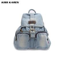 KISS KAREN Retro Vintage Fashion Denim Women Backpack Trendy Jeans Backpacks Travel Backpack Bags Preppy Style Ladies Bags