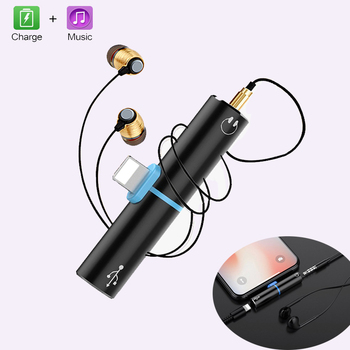 2 in 1 Adapter For iphone 7 8 plus X 10 For lightning Charging Adapter Cable Audio 3.5mm Music Earphone Adapter Headphone Jack