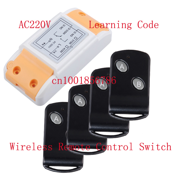220V 10A RF wireless remote control system Controllers/Switch #1 Receiver&4 Transmitter Learning code output way adjustable ac 220v 1channel 10a rf wireless remote control switch system 4 receiver