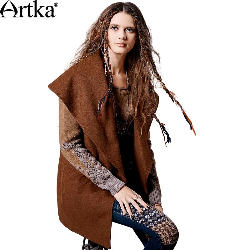 ARTKA Women s Autumn Winter New Patchwork Woolen Coat Vintage Turn down Collar Knitted Sleeve Single
