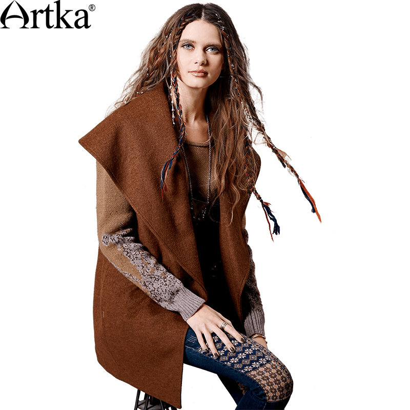 ARTKA ผู้หญิงฤดูใบไม้ร่วงฤดูหนาวใหม่ Patchwork เสื้อขนสัตว์ Vintage เปิด   ลงปกเสื้อปุ่มเสื้อ FA11363Q-ใน ขนสัตว์และขนสัตว์ผสม จาก เสื้อผ้าสตรี บน   1