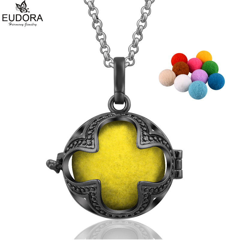 Eudora Angel Caller Aromatherapy Diffuser Locket Essential Oil Perfume Necklace DIY Maternity Jewelry Gift With Pompon Ball