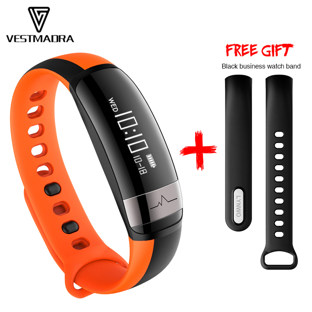 VESTMADRA Smart Wristband Heart Rate Monitor Waterproof Pedometer Smart Bracelet Blood Pressure Fitness Tracker for Android
