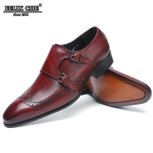 FELIXCHU HANDMADE OFFICE BUSINESS WEDDING SHOES MEN DRESS LOAFERS WINE RED LUXURY DOUBLE BUCKLE FORMAL GENUINE LEATHER MEN SHOES