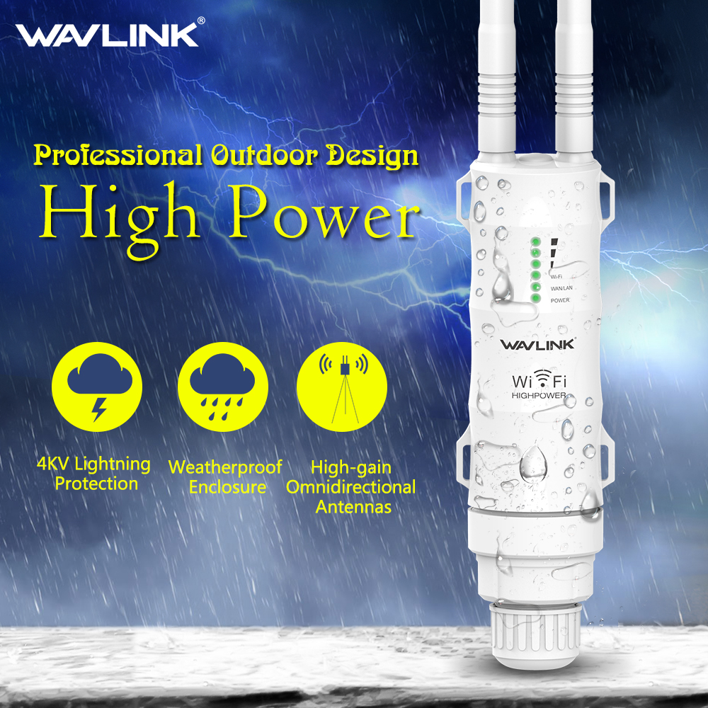 Wavlink 2 4G High Power 300Mbps Outdoor Weatherproof 30dbm Wireless Wifi Router AP Repeater 1000mW 15KV