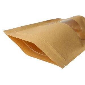Image 3 - 10pcs חום קראפט נייר מתנות סוכריות שקיות חתונה אריזת תיק למחזור מזון לחם מסיבת קניות שקיות בוטיק Zip מנעול