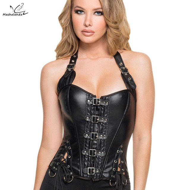 Lmitation Leather Gather Waist Slim Fit Halt Top Palace Corset Women Coffee Black Steampunk Corsets and Bustiers